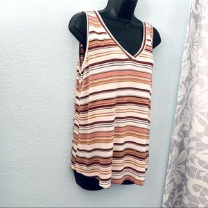 Maurices 24/7 Striped V-Neck Tank Top. Size Large